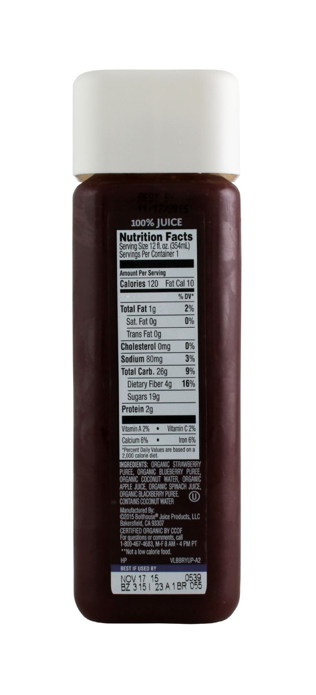 1915 Cold-pressed Organic Juice: BF1915 StrawBlue Facts