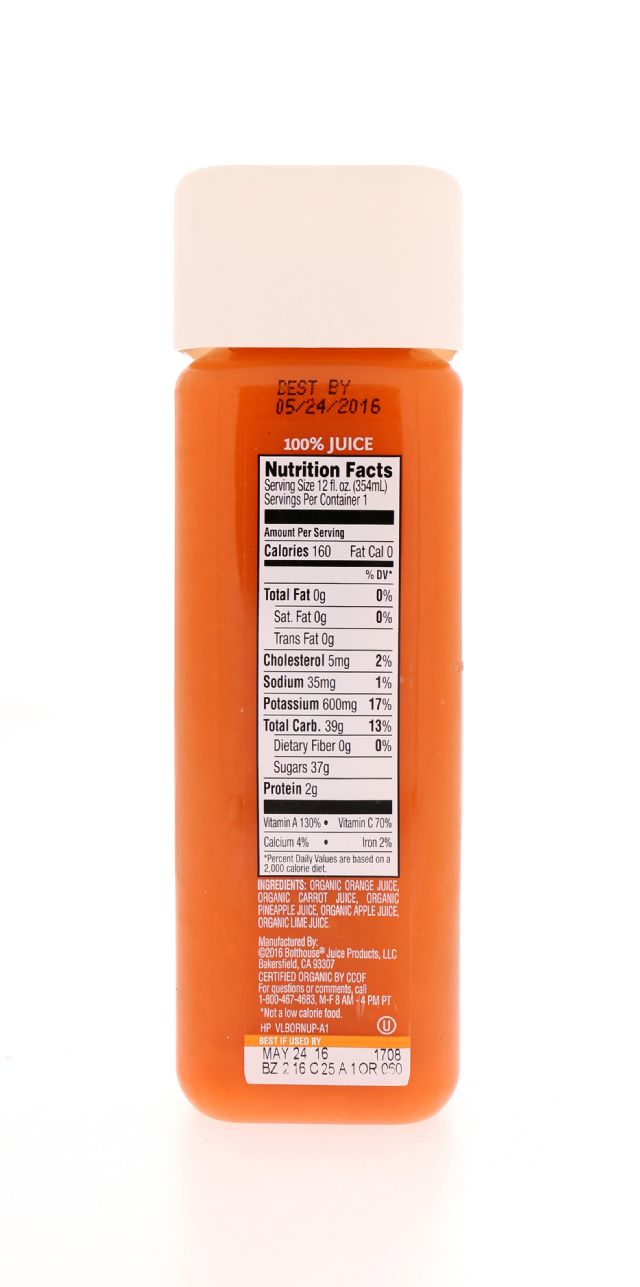 1915 Cold-pressed Organic Juice: BF1915_Orange Facts