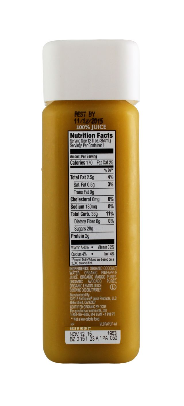 1915 Cold-pressed Organic Juice: BF1915 CocoPine Facts