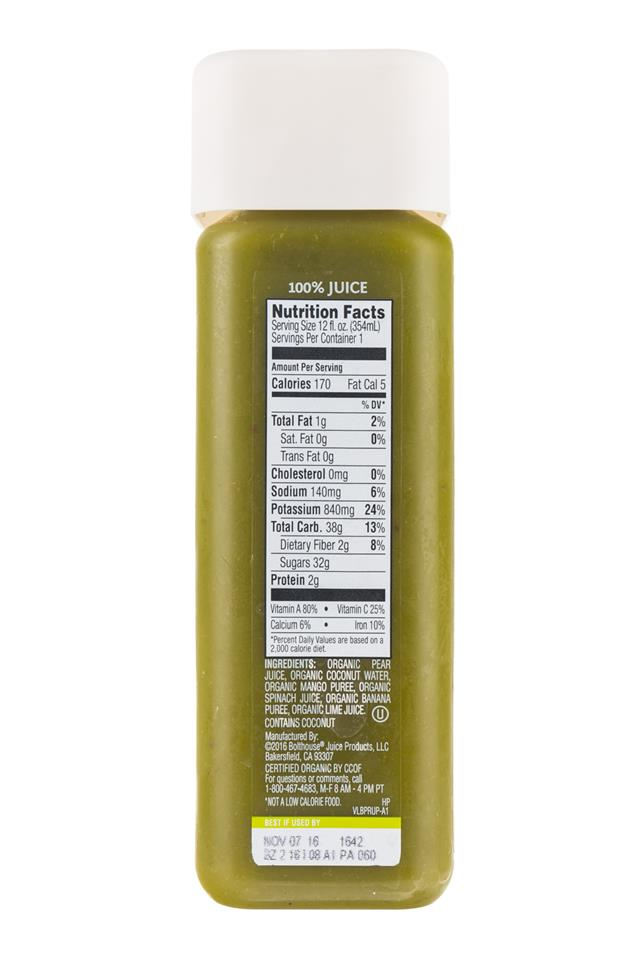 1915 Cold-pressed Organic Juice: BolthouseFarms-1915-ColdPress-PearCoco-Facts