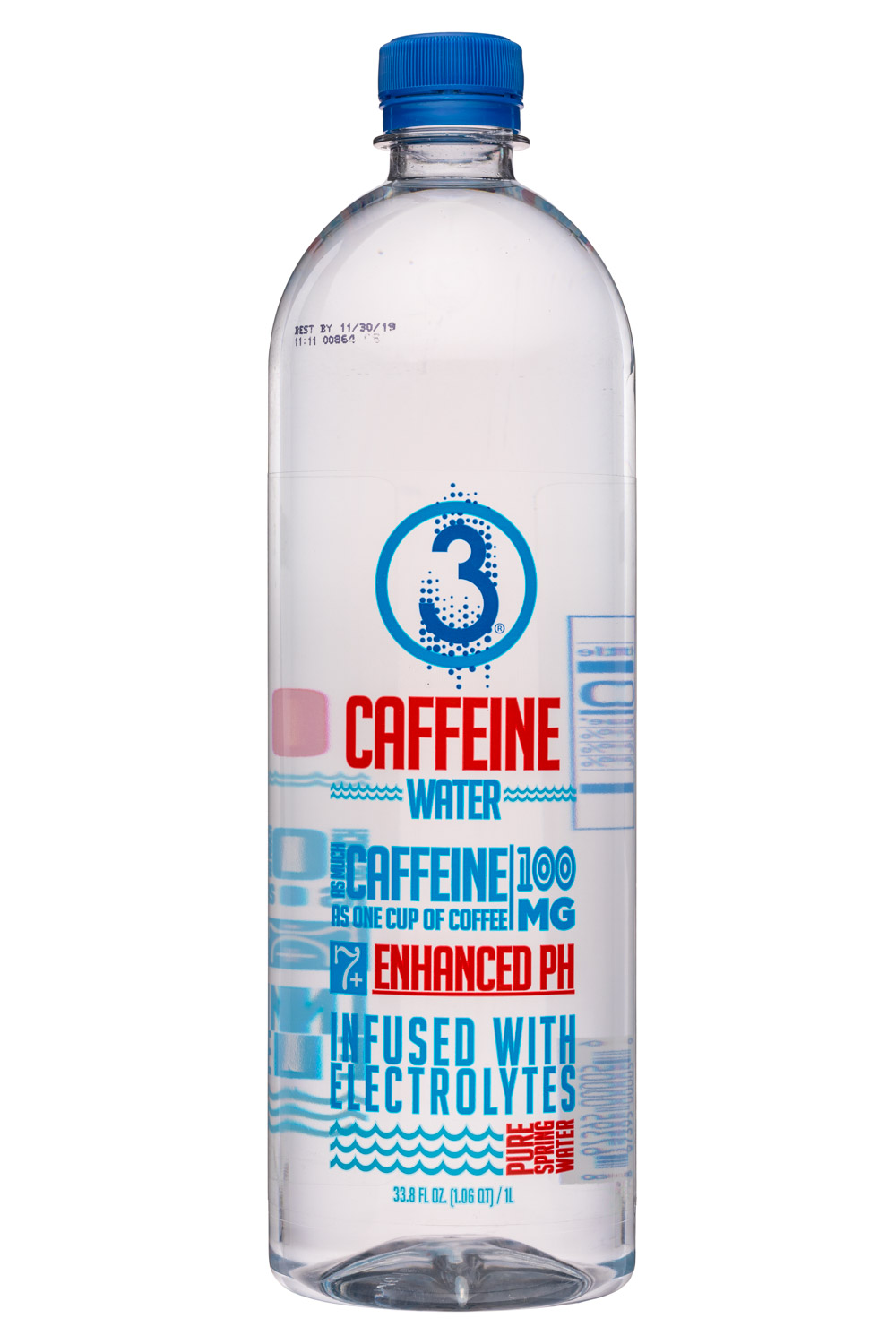 3 Water: Drink3Water-34oz-CaffeineWater-Front