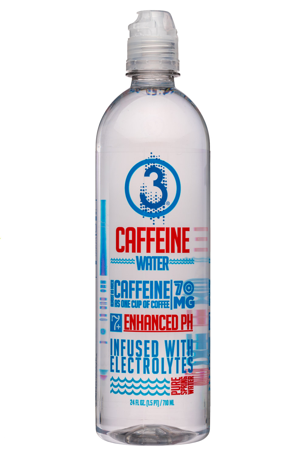 3 Water: Drink3Water-24oz-CaffeineWater-Front