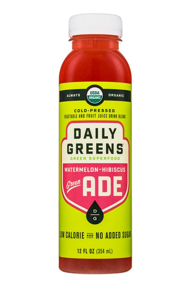 Daily Greens Green ADE: DailyGreens-12oz-GreenSuperfood-WatermelonHibiscus-Front
