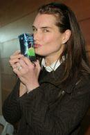 Brooke Shields drinking O.N.E. Coconut Water
