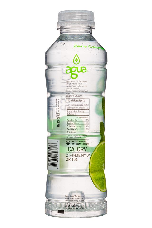 Agua Fruit Essence: Agua-FruitEssence-20oz-MintMojito-Facts