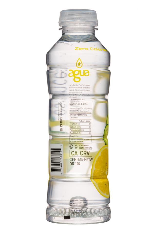 Agua Fruit Essence: Agua-FruitEssence-20oz-Cucumber-Facts