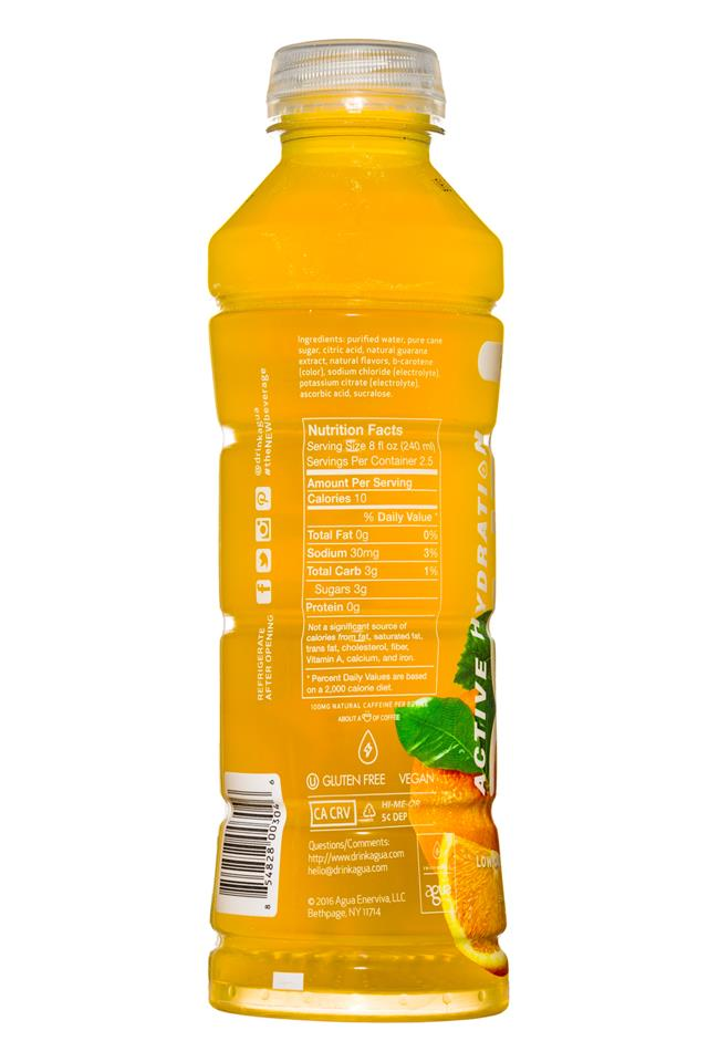 Agua Enerviva: AquaEnerviva-20oz-ActiveHydration-OrangePassion-Facts