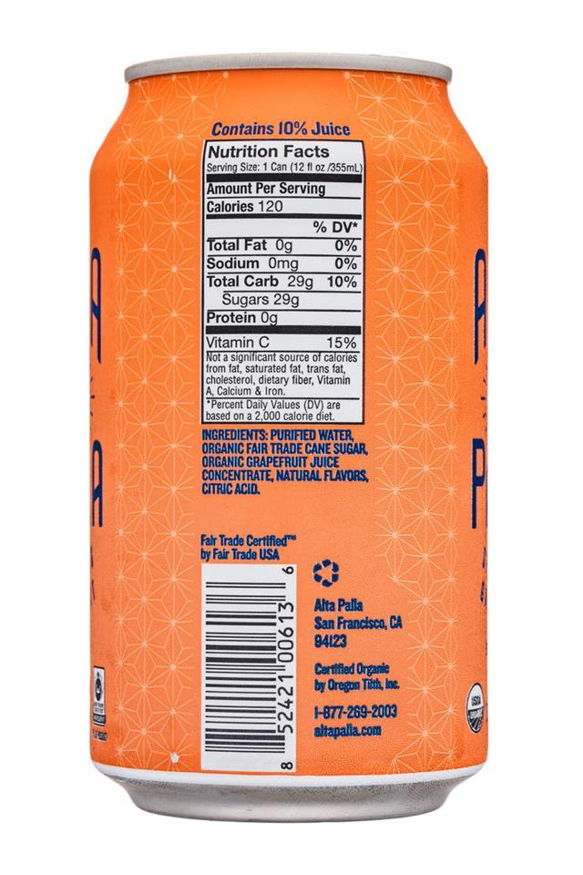 Alta Palla: AltaPalla-12oz-Sparkling-Grapefruit-Facts