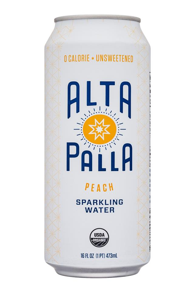 Alta Palla: AltaPalla-16oz-SparklingWater-Peach-Front
