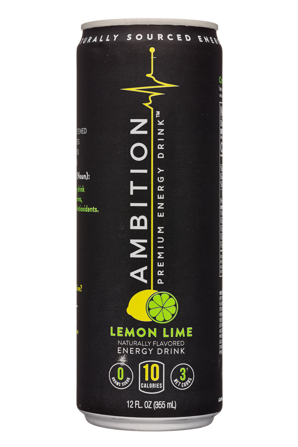 Ambition Beverages: Ambition-12oz-EnergyDrink-LemonLime-Front