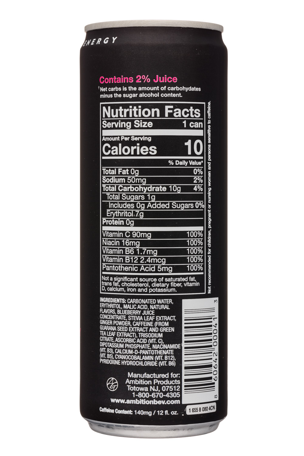 Ambition Beverages: Ambition-12oz-EnergyDrink-MixedBerry-Facts