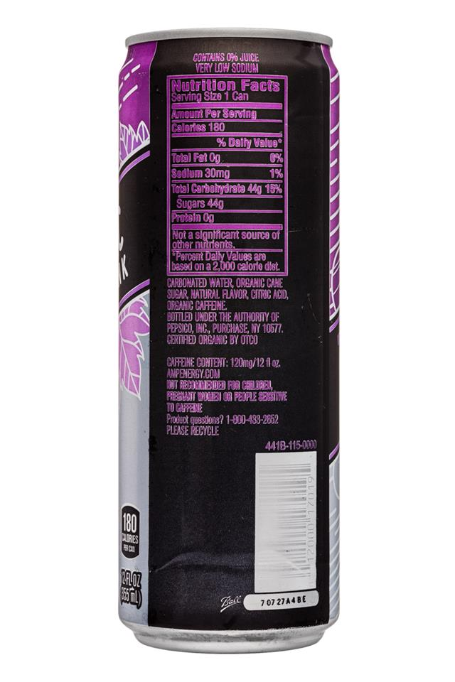 AMP Energy Organic: Amp-Energy-12oz-Grape-Facts