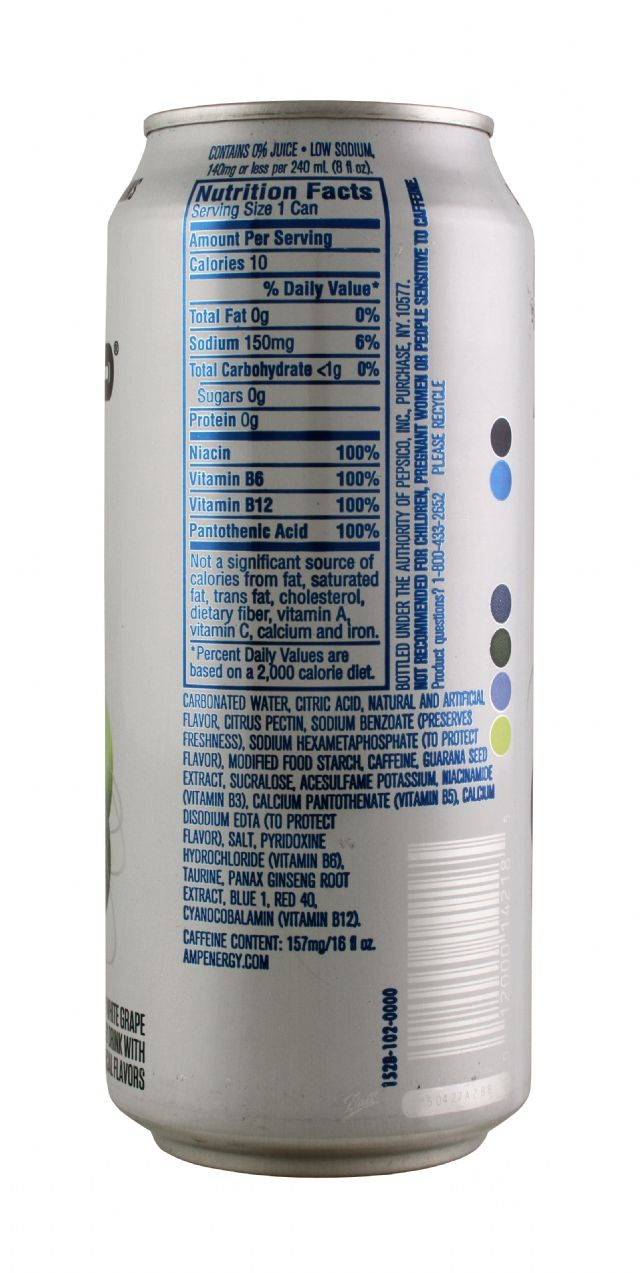 AMP Energy Drink: Amp BlueWhite Facts