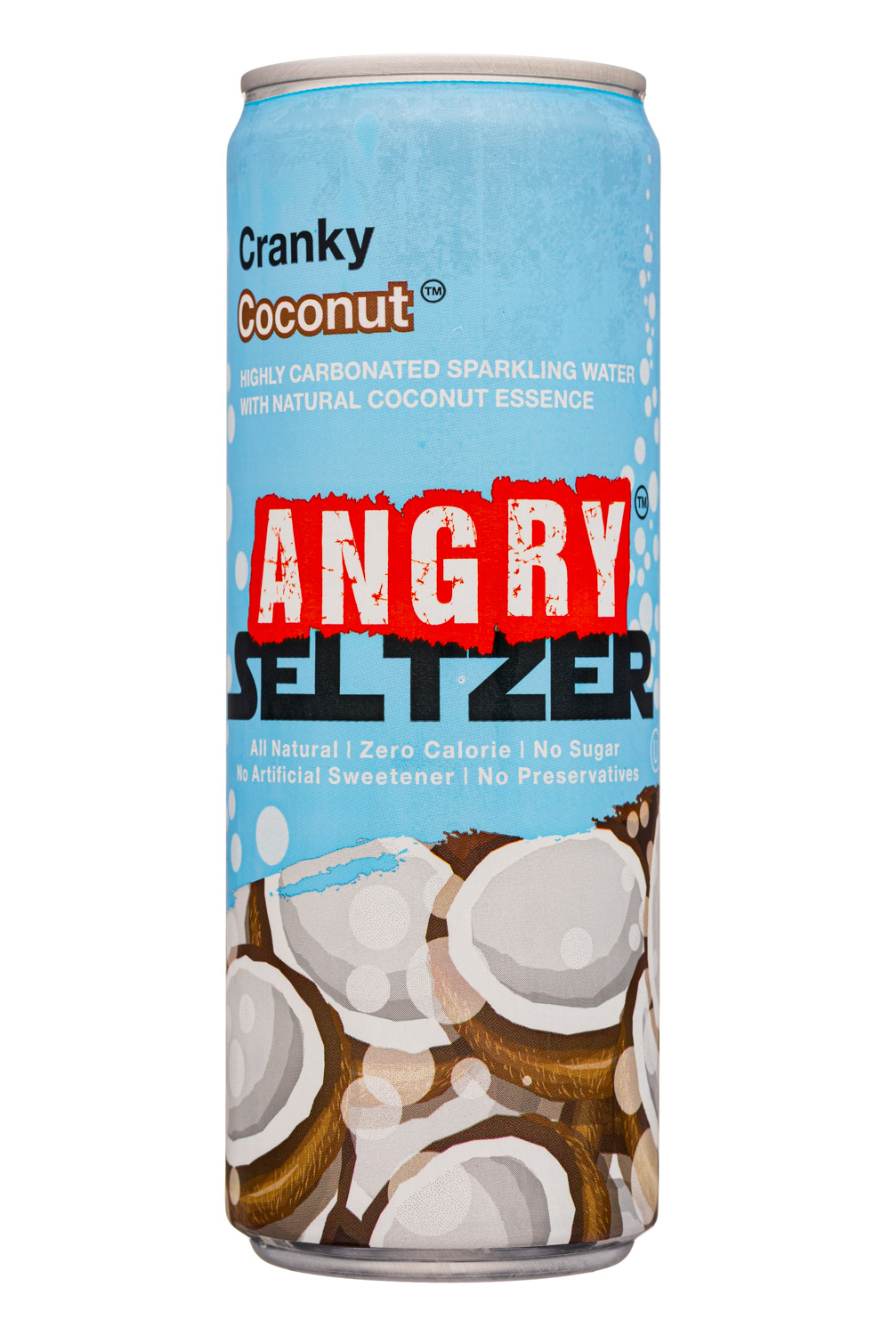 Angry Seltzer: AngrySeltzer-12oz-2020-CrankyCoconut-Front