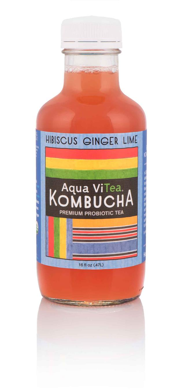 Aqua ViTea Kombucha: HibiscusGingerLime-Bottle