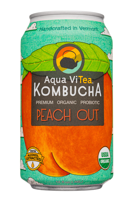 Aqua ViTea Kombucha: AquaVitea-12oz-2020-Kombucha-PeachOut-Front