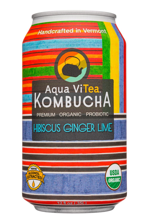 Aqua ViTea Kombucha: AquaVitea-12oz-2020-Kombucha-HibiscusGingerLime-Front