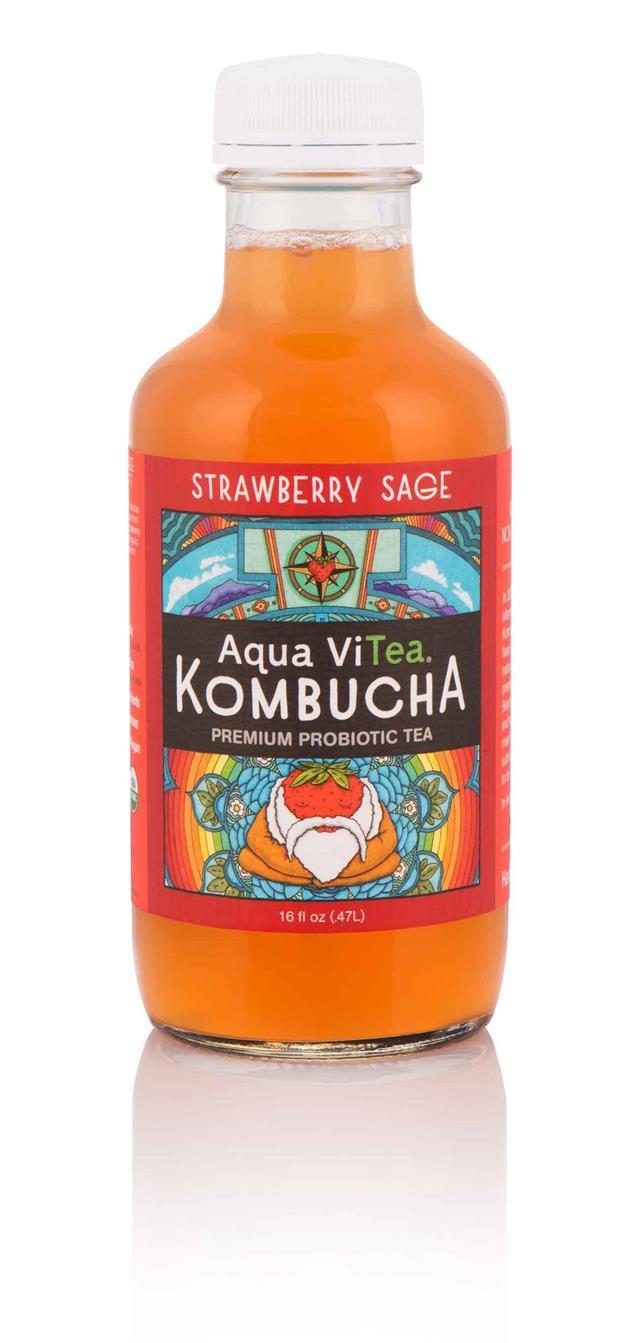 Aqua ViTea Kombucha: StrawberrySage-Bottle