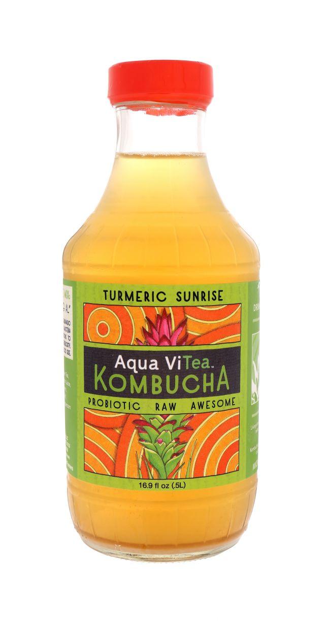 Aqua ViTea Kombucha: AquaViTea TurmericSunrise Front