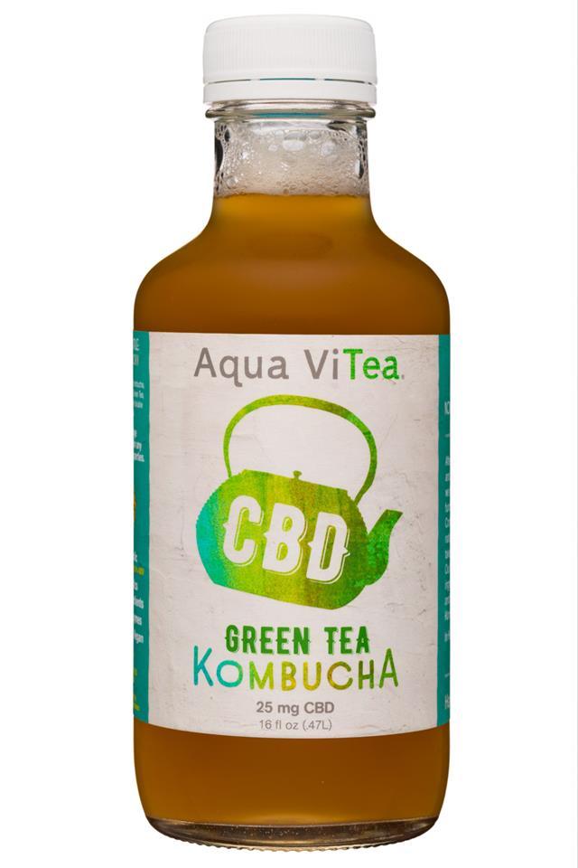 Aqua ViTea Kombucha: AquaViTea-16oz-25CBD-Kombucha-GreenTea-Front