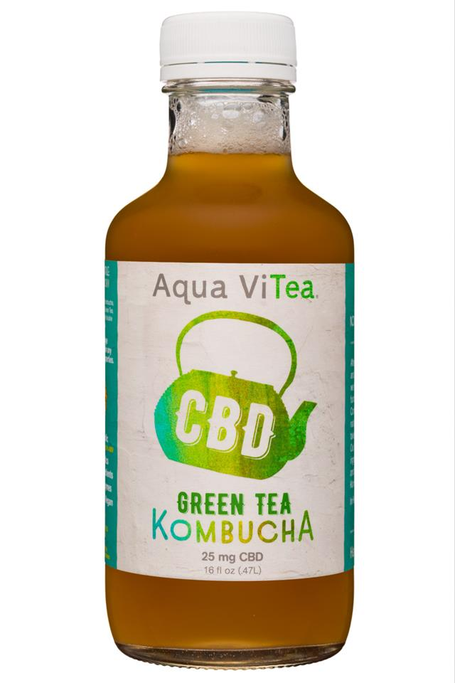 Aqua ViTea Kombucha: 16oz-25CBD-Kombucha-GreenTea-Front