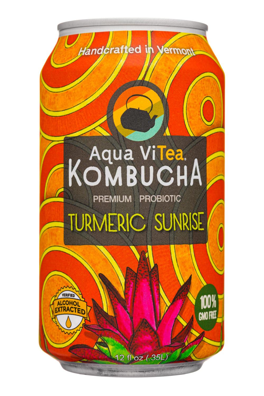 Aqua ViTea Kombucha: AquaVitea-12oz-2020-Kombucha-TurmericSunrise-Front