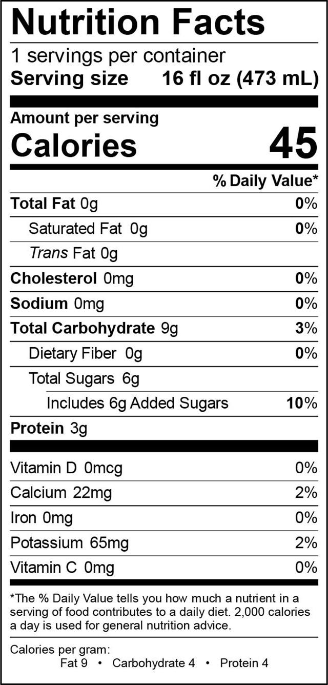Aqua ViTea Kombucha: Ginger-NutritionalPanel