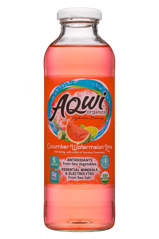 Aqwi Organics: Aqwi-16oz-CucumberWatermelonLime-Front
