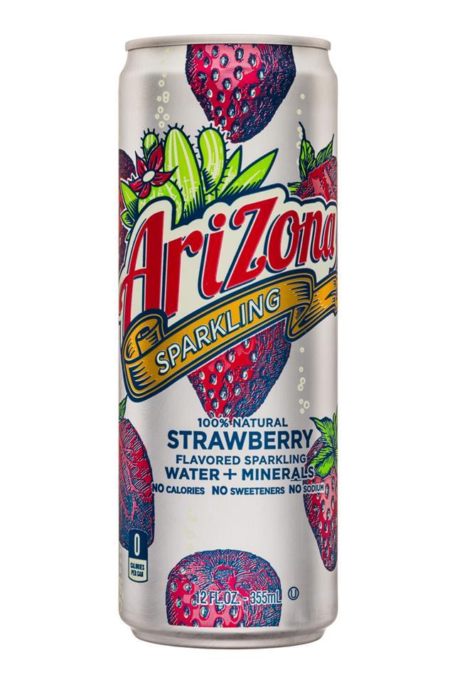 AriZona Sparkling: Arizona-12oz-SparklingWaterMinerals-Strawberry-Front
