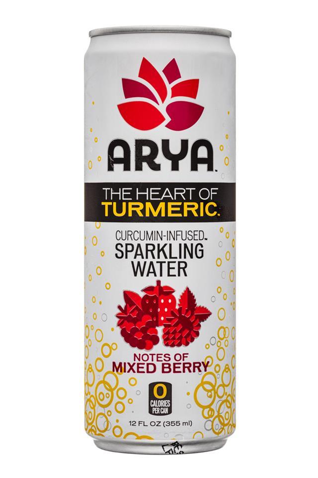 Arya: Arya-HeartOfTurmeric-12oz-SparkleWater-MixedBerry-Front