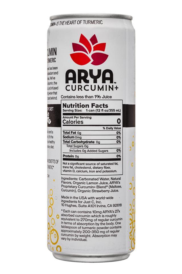 Arya: Arya-HeartOfTurmeric-12oz-SparkleWater-MixedBerry-Facts