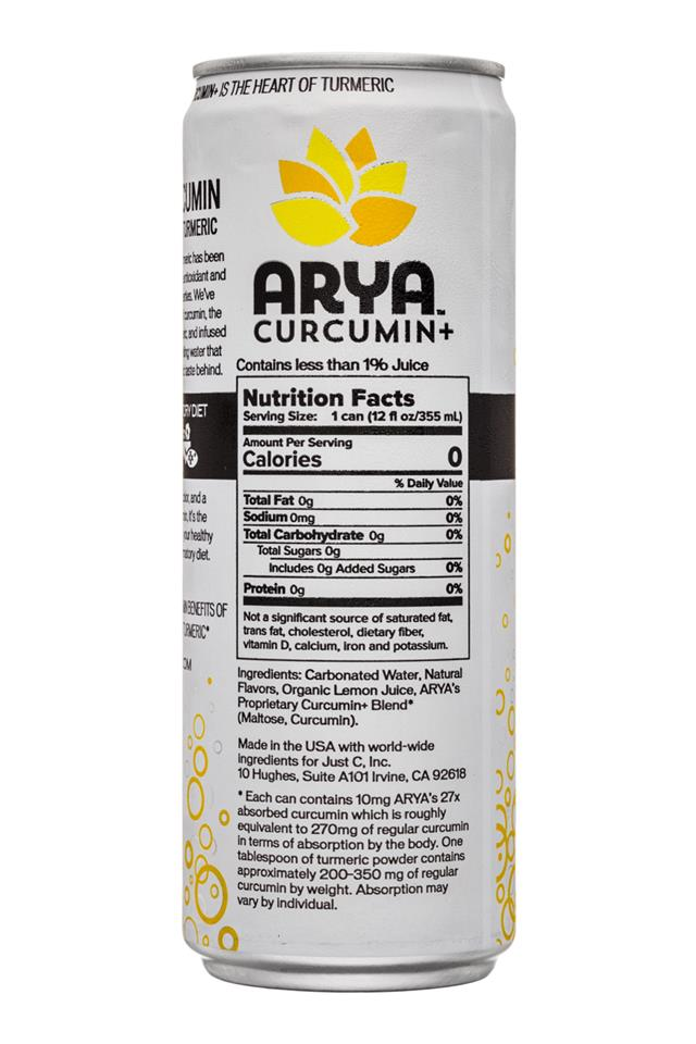 Arya: Arya-HeartOfTurmeric-12oz-SparkleWater-Lemon-Facts