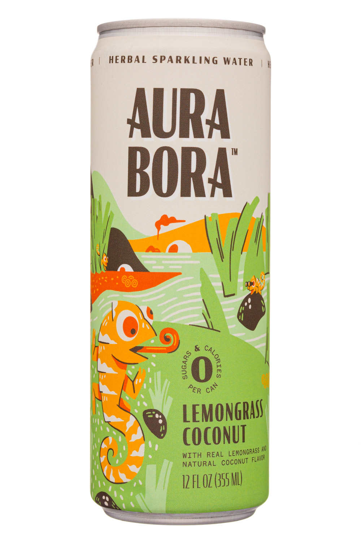 Aura Bora: AuraBora-12oz-2020-HerbalSparklingWater-LemonCoconut-Front