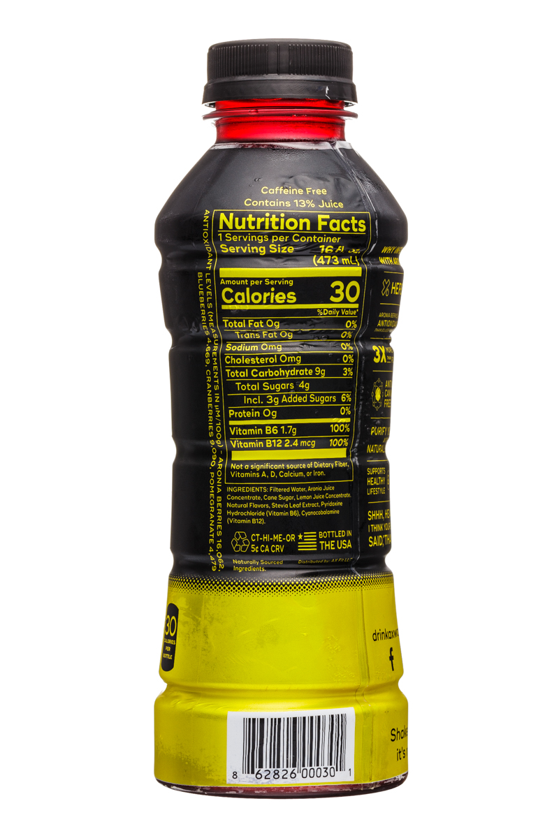 Ax-Water: AxWater-16oz-AroniaBerry-Lemon-Facts