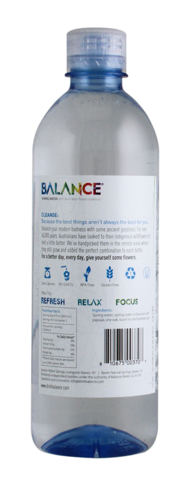 Balance Water: Balance Cleanse Facts SM