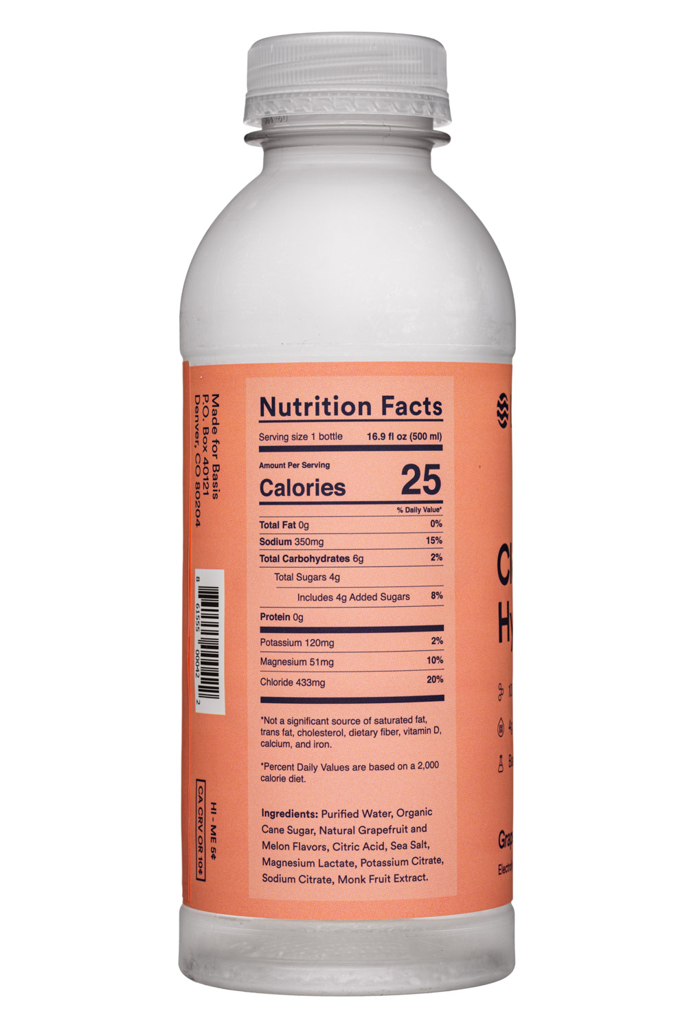 Basis: Basis-17oz-CleanHydration-GrapefruitMelon-Facts