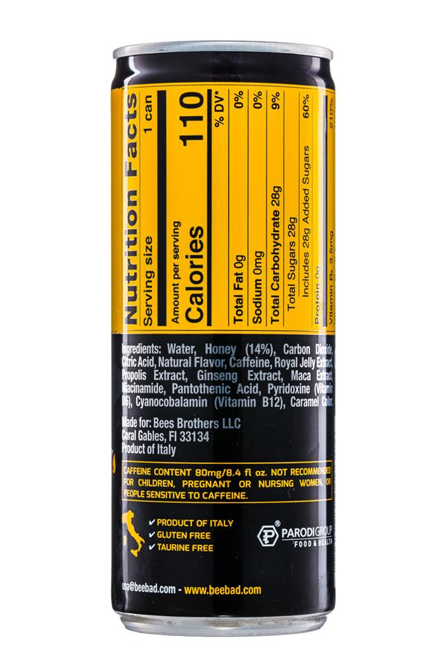 BeeBad: BeeBad-SparklingEnergy-8oz-Facts
