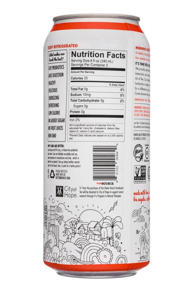 Better Booch Premium Kombucha Tea: BetterBooch-16oz-MorningGlory-Facts
