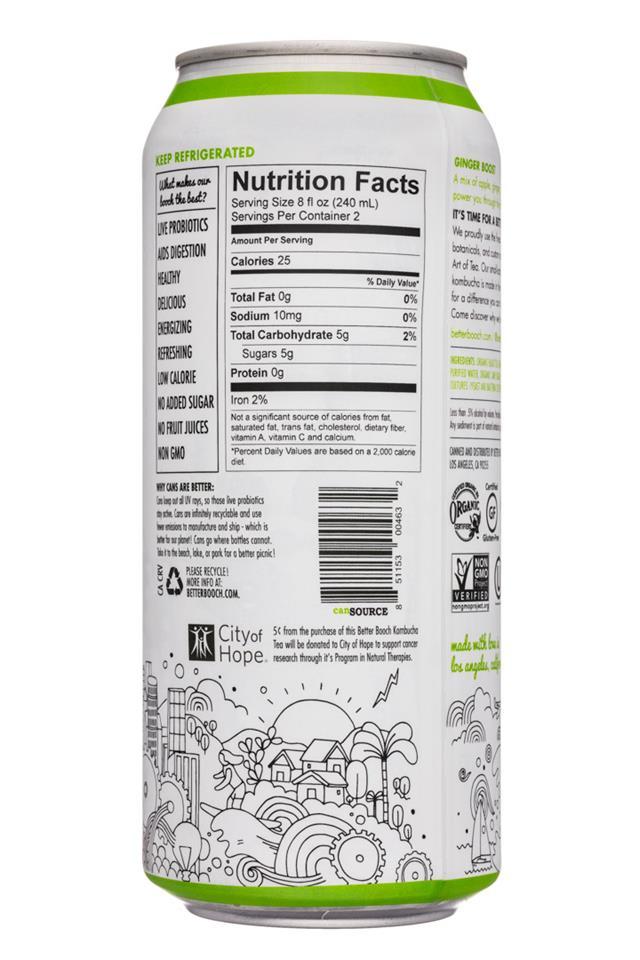 Better Booch Premium Kombucha Tea: BetterBooch-16oz-GingerBoost-Facts