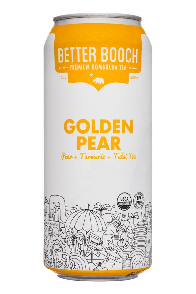 Better Booch Premium Kombucha Tea: BetterBooch-16oz-GoldenPear-Front