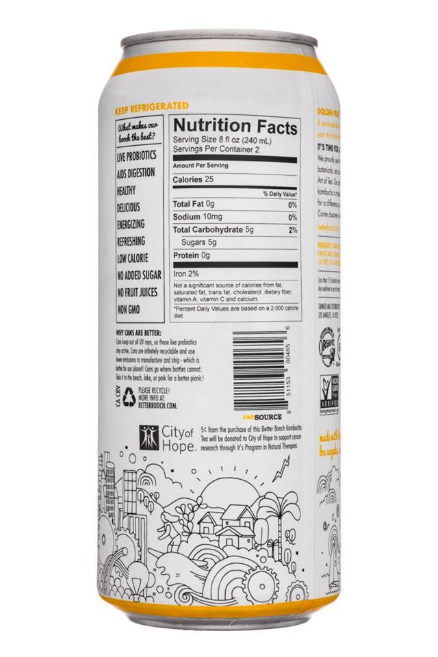 Better Booch Premium Kombucha Tea: BetterBooch-16oz-GoldenPear-Facts