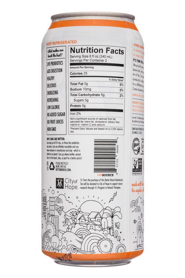 Better Booch Premium Kombucha Tea: BetterBooch-16oz-CitrusSunrise-Facts