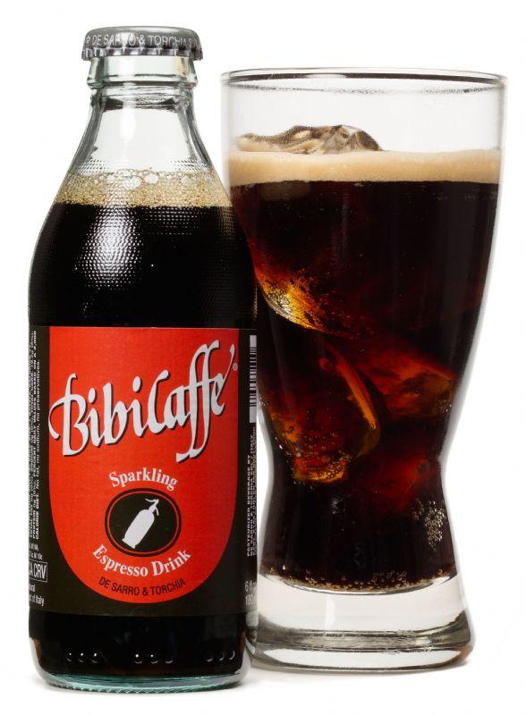 BibiCaffè Sparkling Espresso Drink: Bottle and glass