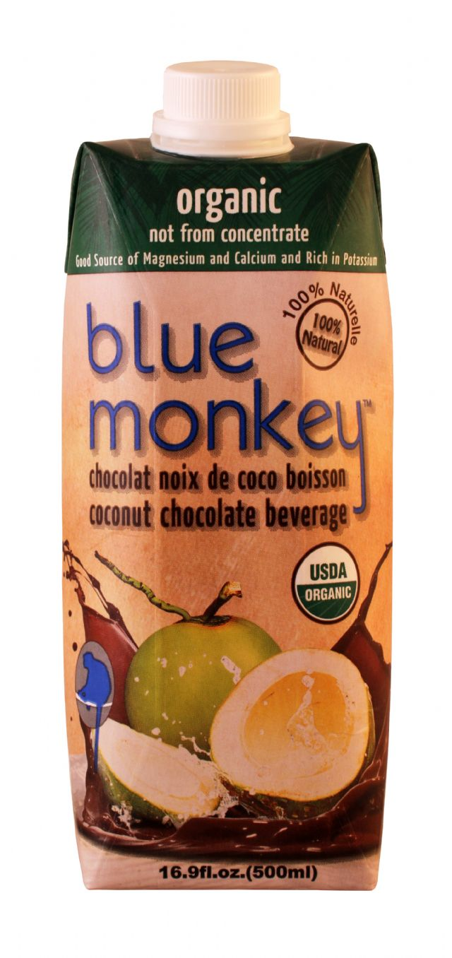 Blue Monkey Coconut Water: BlueDonkey Choco Front