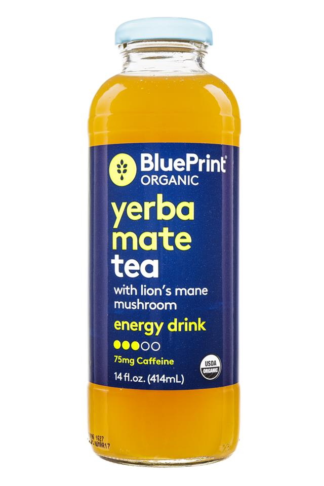 BluePrint Tea-Infused Energy Drinks: BluePrint-Tea-YerbaMate-LionsMane-Front