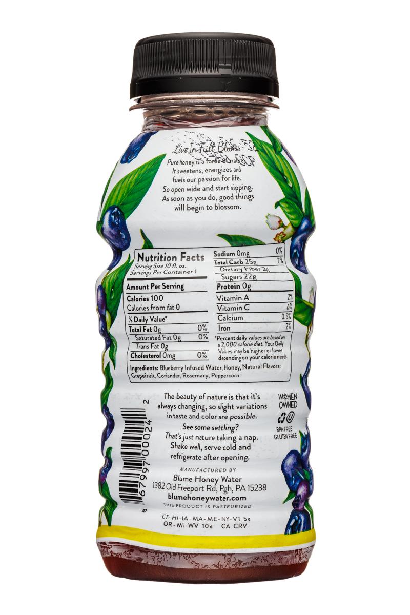 Blume Honey Water: Blume-10oz-HoneyWater-WIldBlueb-Facts