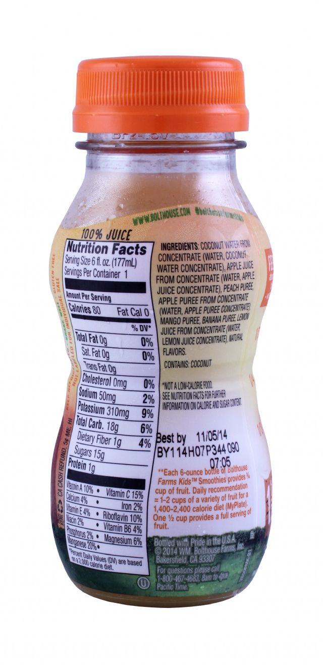 Bolthouse Farms Kids Smoothies: Bolthouse PeachMango Facts