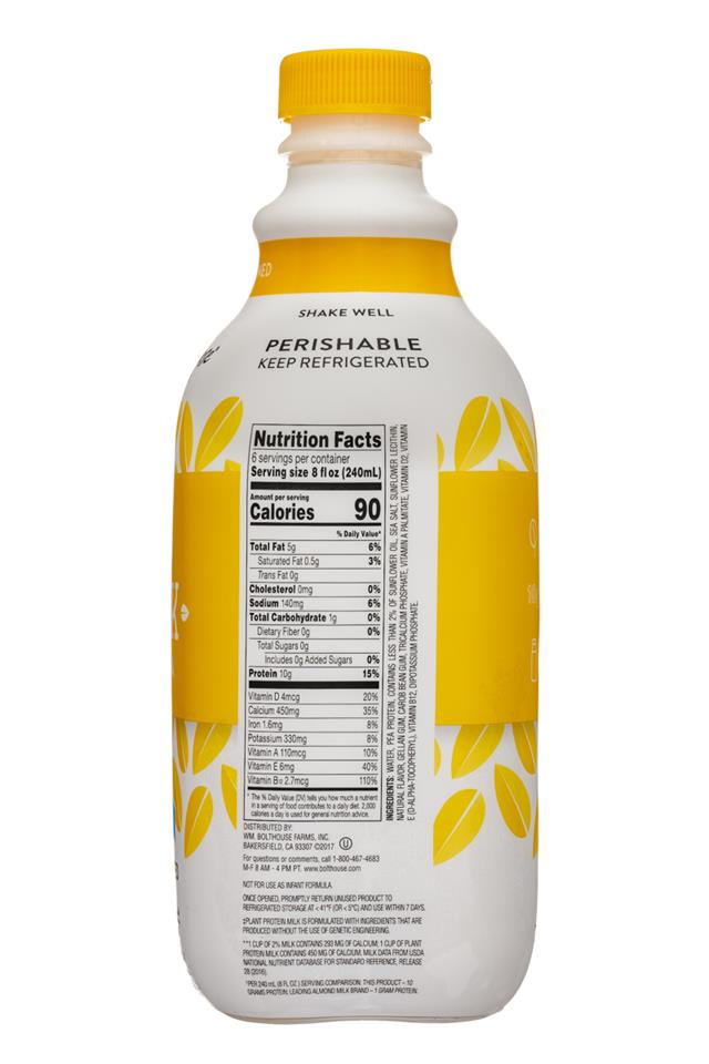 Bolthouse Farms Plant Protein Milk: BolthouseFarms-48oz-PlantMilkProtein-Unsweet-Facts