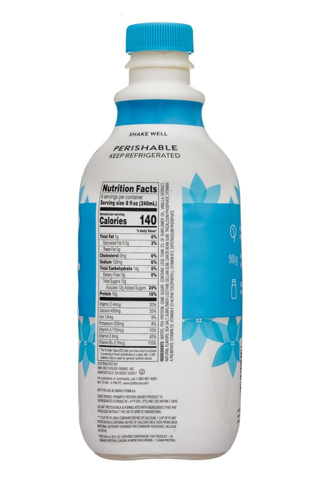 Bolthouse Farms Plant Protein Milk: BolthouseFarms-48oz-PlantMilkProtein-Vanilla-Facts