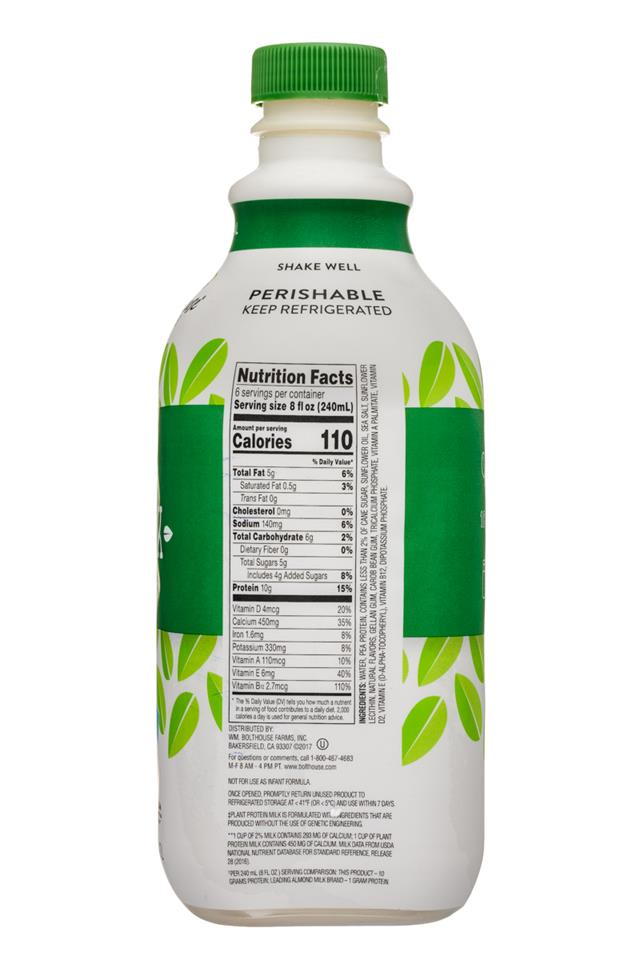 Bolthouse Farms Plant Protein Milk: BolthouseFarms-48oz-PlantMilkProtein-Original-Facts